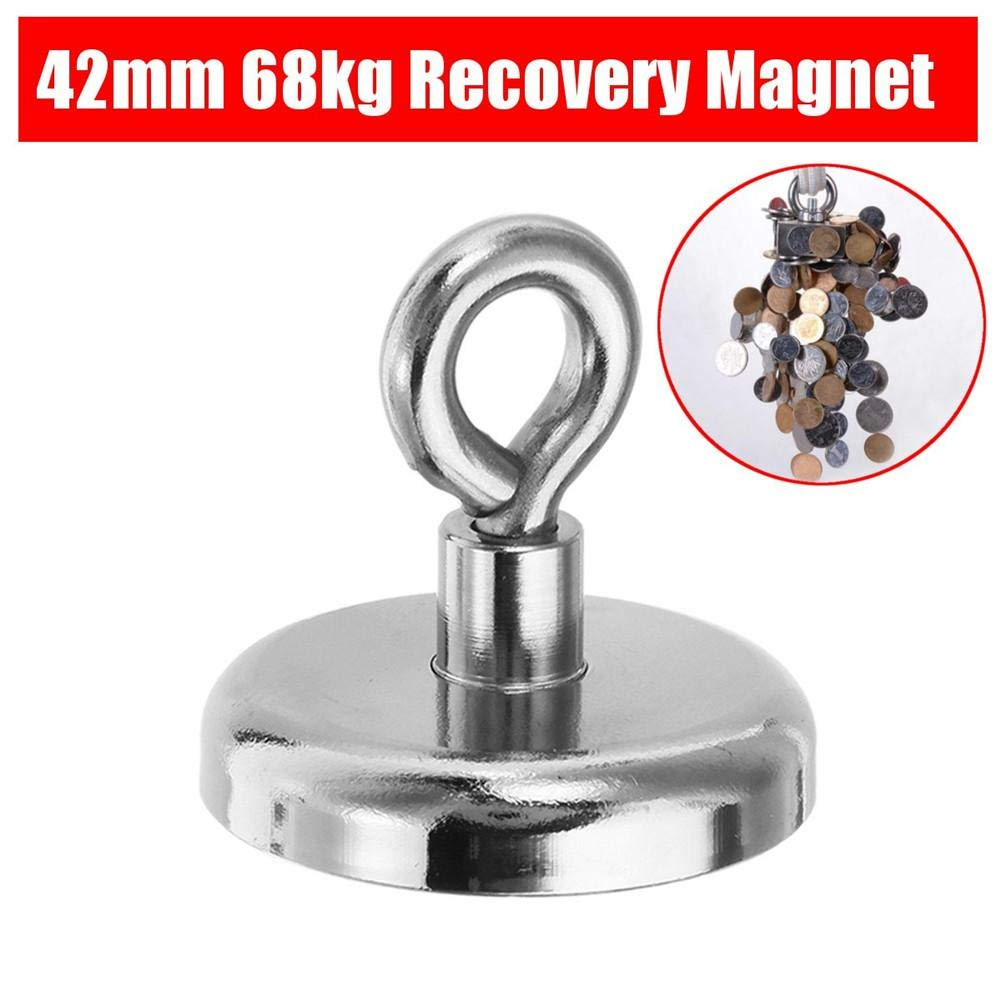 Luerme Pulling Force Powerful Round Neodymium Fishing Magnet Heavy Duty Hooks Diameter 42mm for Magnet Fishing Magnet Metal Detector Recovery Treasure Finder