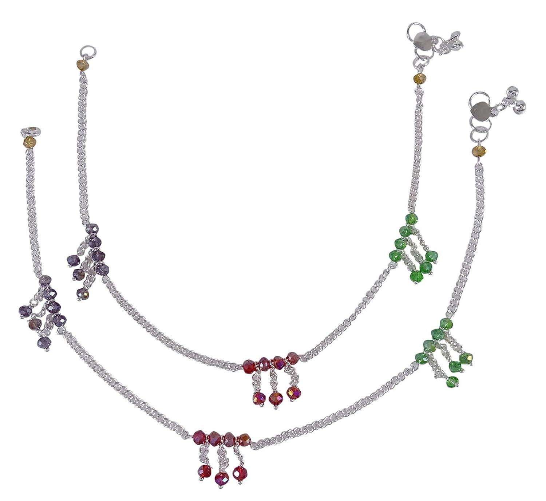 Banithani Ethnic Silvertone Indian Women Designer Chain Ankle Bracelet Barefoot Jewelry