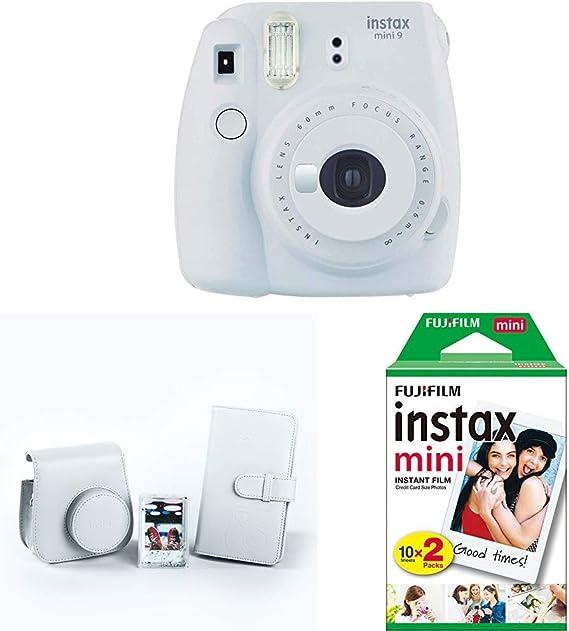 Fujifilm Instax Mini 9 - Cámara instantánea, Blanco + Kit de Accesorios (Funda Desmontable, Álbum 108 Fotos, Marco de metacrilato) Blanco + Pack de 20 películas fotográficas instantáneas, blanco: Amazon.es: Electrónica