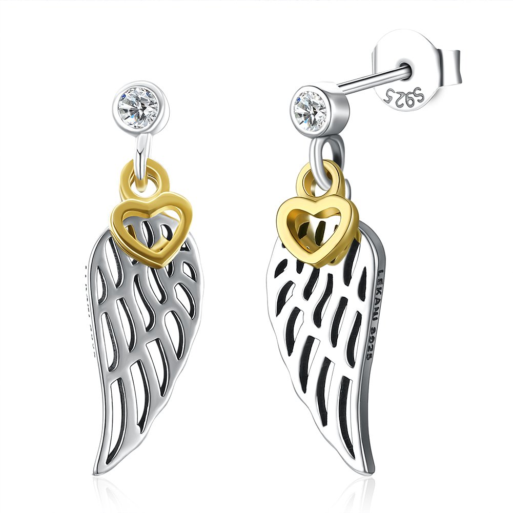 925 Silver Angel Wings Earring Vintage Jewelry Women Fashion Gift