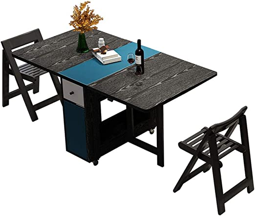 Mesa de comedor y silla de madera maciza plegable fácil de ...