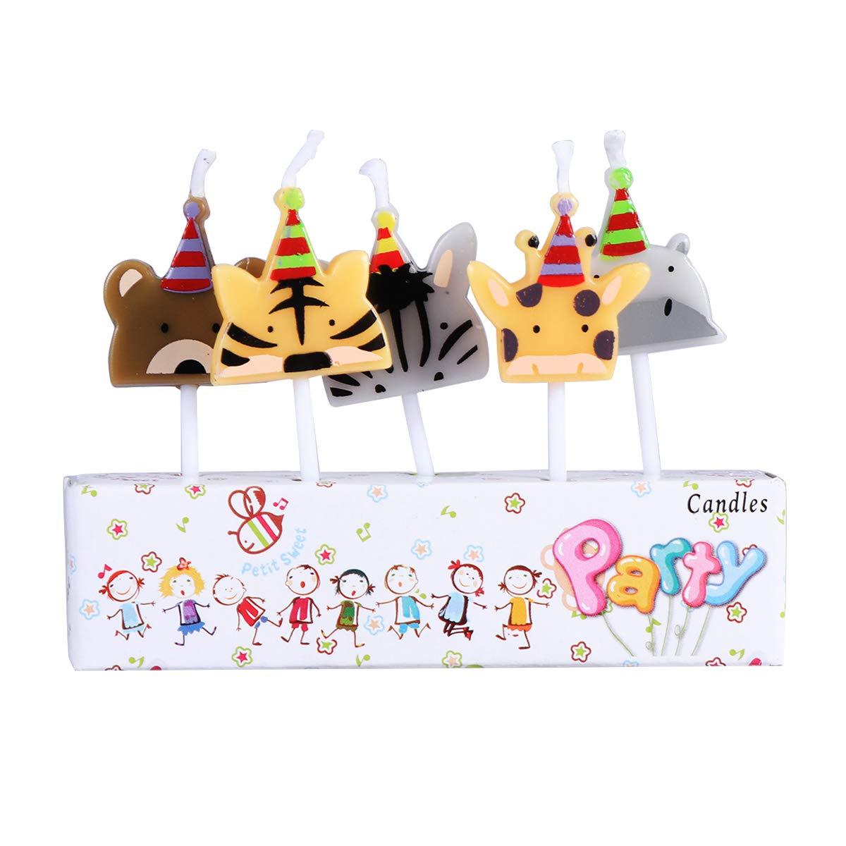 BESTOYARD Velas de la Torta de cumpleaños Animal 5pcs para ...