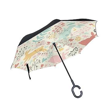 Azul Viper alegre Kawaii conejo puede paraguas Reverse plegable impermeable protección UV paraguas recto doble capa