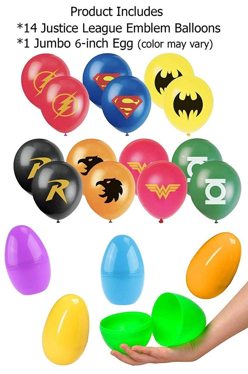 Jumbo Plastic Egg Superhero Balloon Party Favor Supplies 14ct 12 Justice League Hero Theme Balloons in a Large 6 inch Easter Egg Capsule