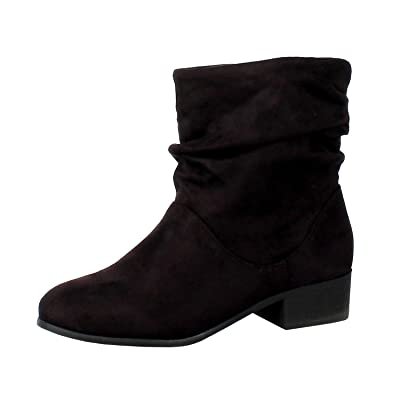 Soda Energy Women's Slouchy Pull On Low Block Heel Ankle Booties | Ankle & Bootie