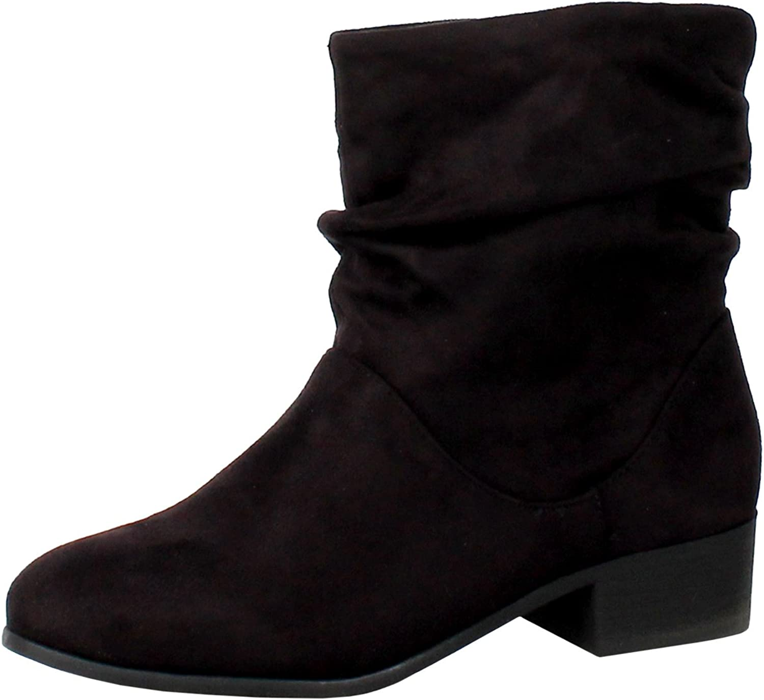 Vintage Boots- Buy Winter Retro Boots Soda Energy Womens Slouchy Pull On Low Block Heel Ankle Booties $37.71 AT vintagedancer.com