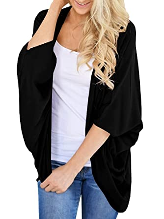 68090303475b29 Hestenve Womens 3 4 Dolman Sleeve Cardigan Draped Open Loose Fit Oversized  Tops Black