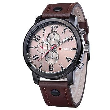 f6f5f5ff3b7b Reloje Hombres Relojes deportivos de cuarzo para hombre Relojes de pulsera  de cuero de lujo reloj niño deportivo ❤ Amlaiworld (café)  Amazon.es   Deportes ...