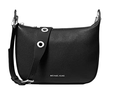 08af9472fdf3 Amazon.com: MICHAEL Michael Kors Barlow Medium Pebbled Leather Messenger -  Black $298: Shoes