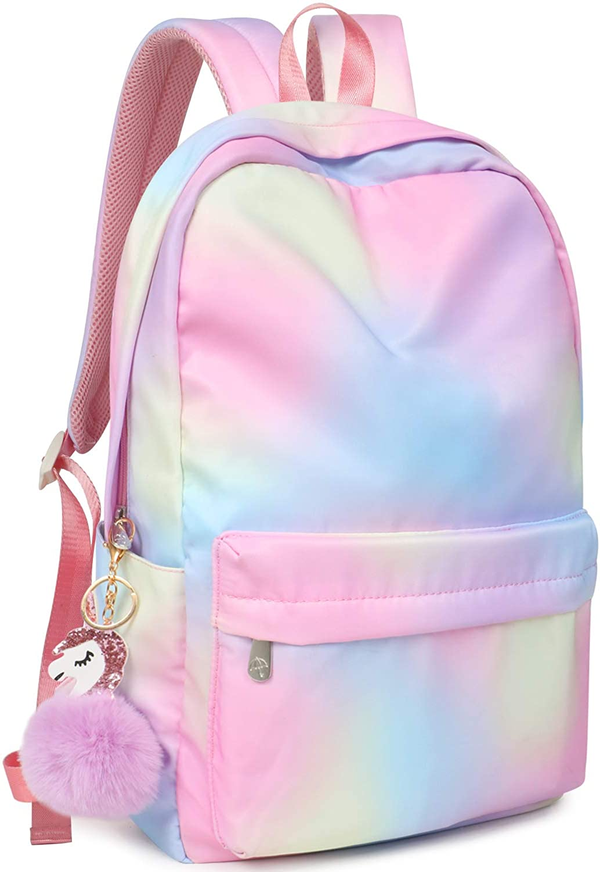 Name Pink Glitter Unicorn /& Stars Girls School Bag Personalised Kids Backpack