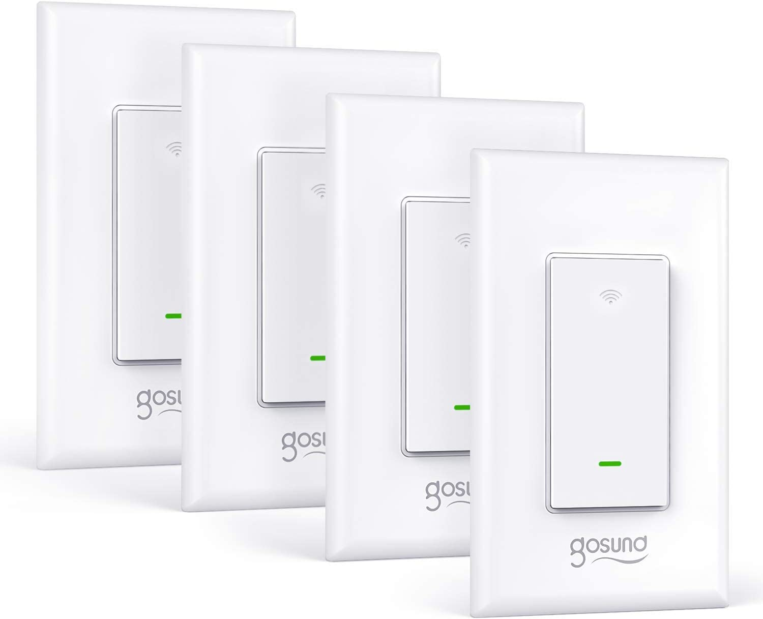 Smart Switch Neutral Wire Required 4 Pack ETL and FCC Listed Single-Pole Remote Control and Schedule Gosund 2.4Ghz Wifi Light Switch Compatible with Alexa No Hub Required Google Home