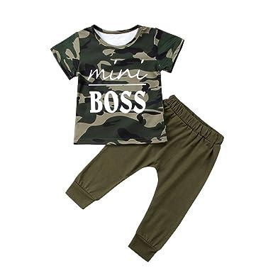 465694f70 Toddler Kids Infant Baby Boy Mini Boss Short Sleeve Camo T-Shirt Tops Long  Pants