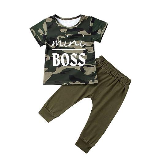 c1ce4f6e5 Newborn Baby Boy Girl Pants Outfits Mini Boss Camouflage Tee Shirt Long  Pants Baby Clothing Set