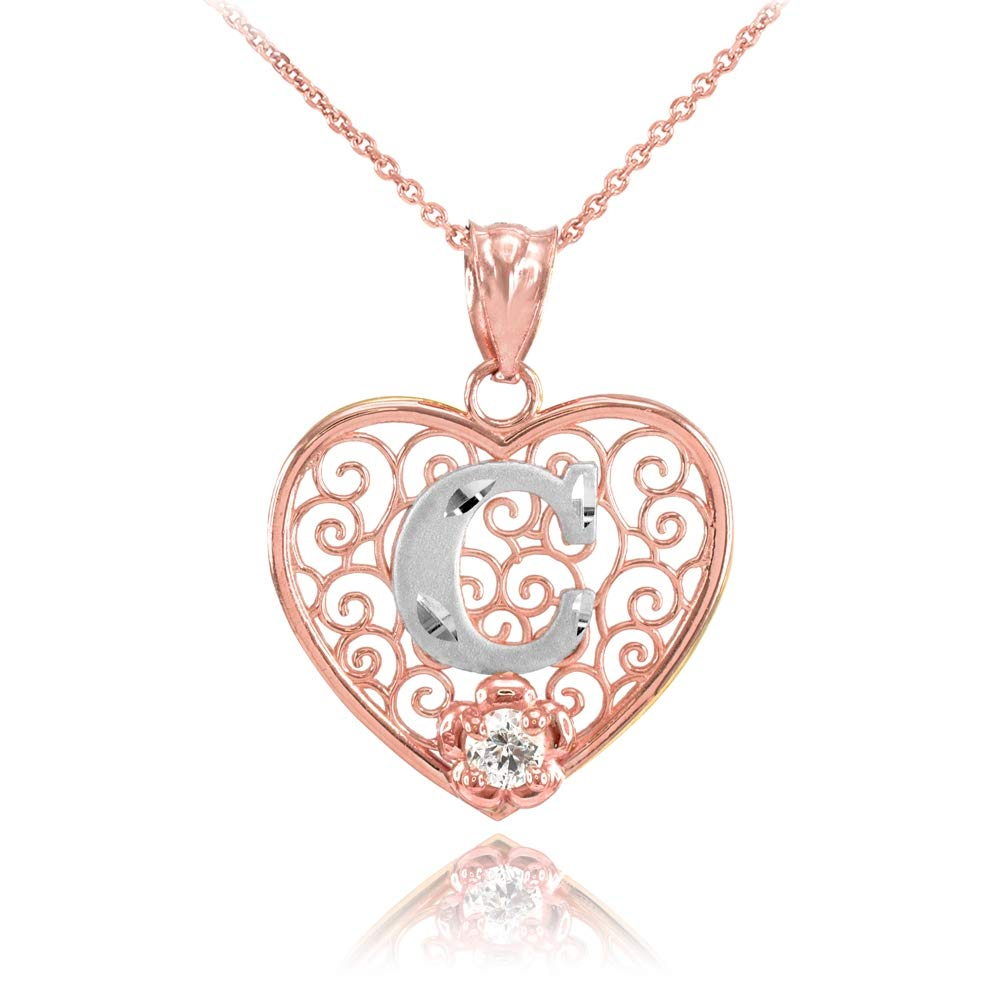 TrioStar 18k Rose Gold Plated 925 Silver C Initial Simulated Diamond Filigree Heart Pendant /& Necklace for Womens