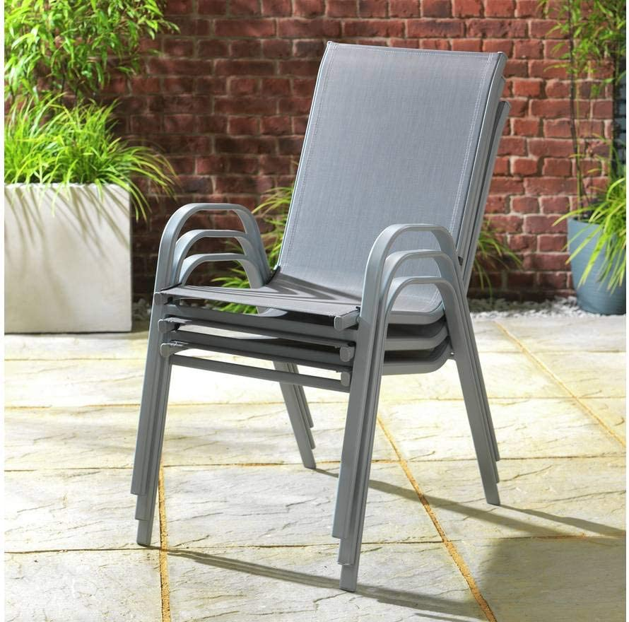Havnyt Garden Chairs Grey Textilene Mesh and Metal Frame Set of 7