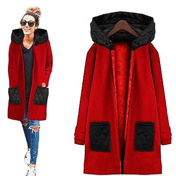 Kleidung Damen DAY.LIN Lange Ärmel Hoodie Mantel Jacke Windjacke Outwear Oben (XL, Rot)
