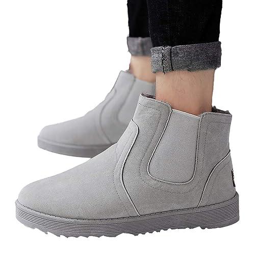 Botas de Nieve Hombre Botines cálidos de Felpa Gamuza de Forro de algodón Zapatos Casuales Zapatos para Caminar Deportes Al Aire Libre Zapatos EU39-44 ...