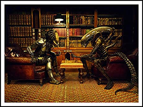 Imagenation Alien Versus Predator Playing Chess