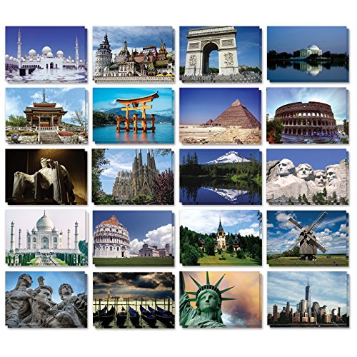 Pack Card Photo (Set of 40 Assorted World Postcards Collection Variety Pack World Theme Self Mailer Mailing Side Postcards 20 Different Designs, 2 of Each, 40 Pack Postage Saver - 4 x 6 Inches)