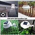 Lucky Friend 6PCS Solar Light Lamp Powered Outdoor Garden Yard Wall LED Light Gutter Fence Wall Lamp&Bracket White