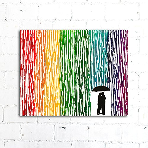 Melted Crayon Art, Rainbow Painting, Lesbian Wedding Gift 16''x20'' Canvas by Fem By Design