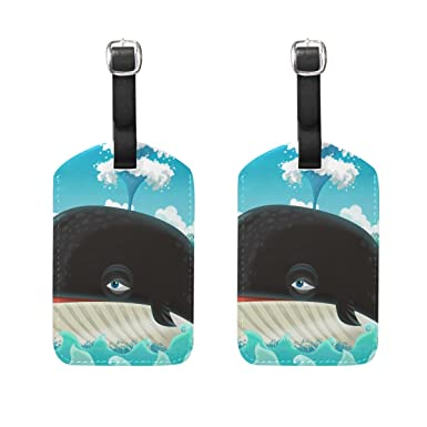 2 Pack Luggage Tags Whales Baggage Tag For Suitcase Bag Accessories