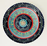 Hand Made in Spain | Bright Royal Blue, Turquoise With Touches Of Red, Orange Yellow And White Large Ceramic Shallow Bowl | 13.5 inches x 2.25 inches