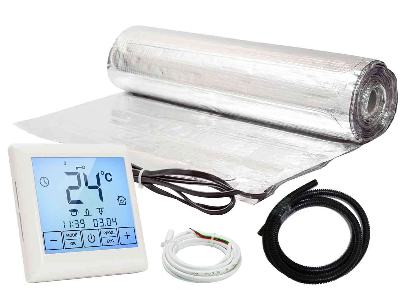 Warm-On AM913010 Alu Heizmatten Komplett-Set 150 W//m/² inkl Touchscreen Thermostat 7.0 m/²