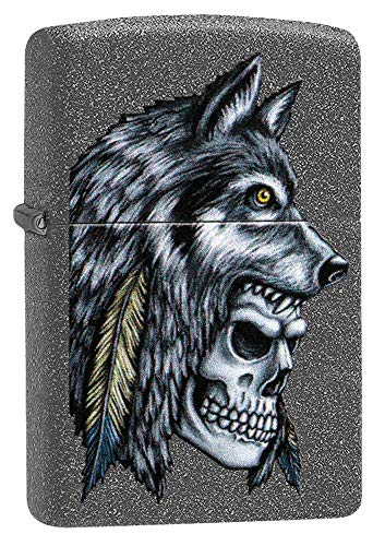 Custom Personalized Wolf Skull Feather Design Windproof Lighter Free Engraving (Feather Zippo Lighter)