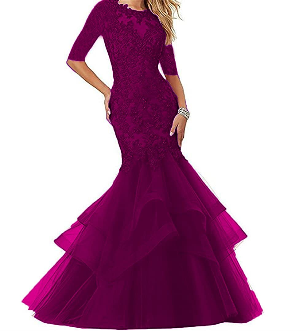 Grape Dydsz Women's Long Prom Evening Dresses with Sleeves Mermaid Formal Party Gowns D265
