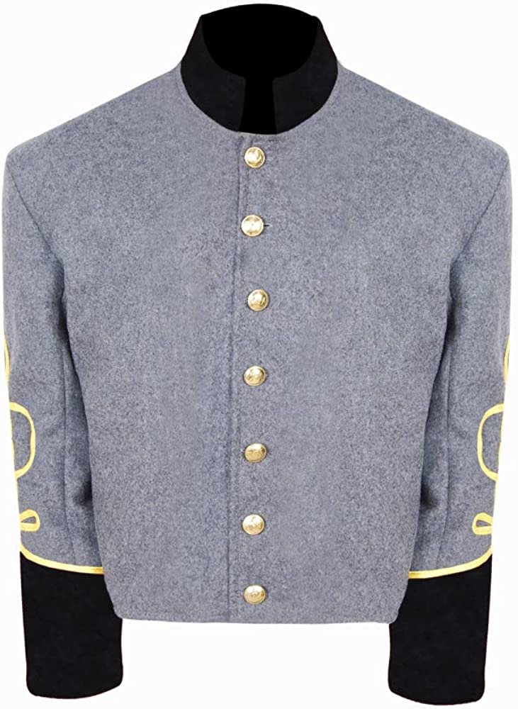 Civil War CS Officer's High order Militia Grey rows Black Collar Cuff 3 Financial sales sale b