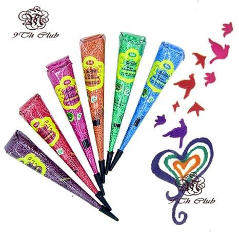 Buy 6pcs Colored Golecha Henna Tattoo Paste Cream Cones Indian