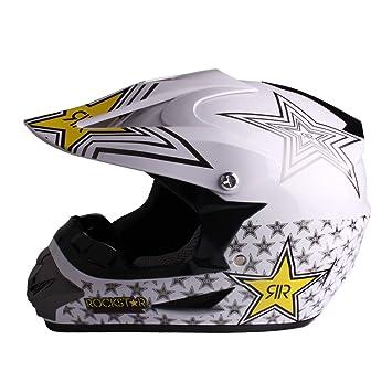 Larcele Casco de Motocross de motocicleta SDYYK-01 (XL, Blanco)