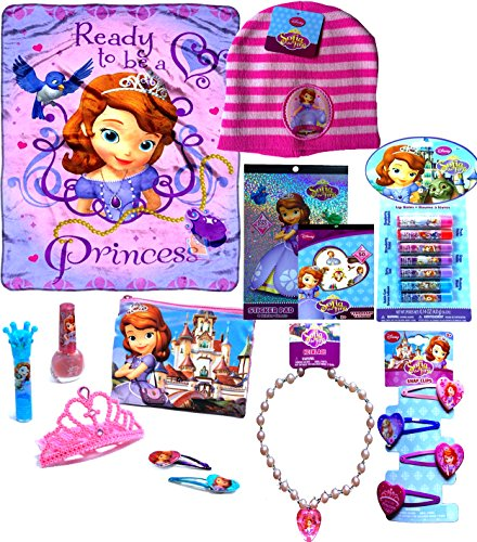 Disney's Sofia the First Holiday Gift Set Fleece Throw Blanket with Sofia the First Beanie , Sticker-book,temp Tattoos, Snap Clips, Necklace, 7 Fruit Flavored Lip Balms, and Cosmetic Pretend Play Set Includes Tiara ()