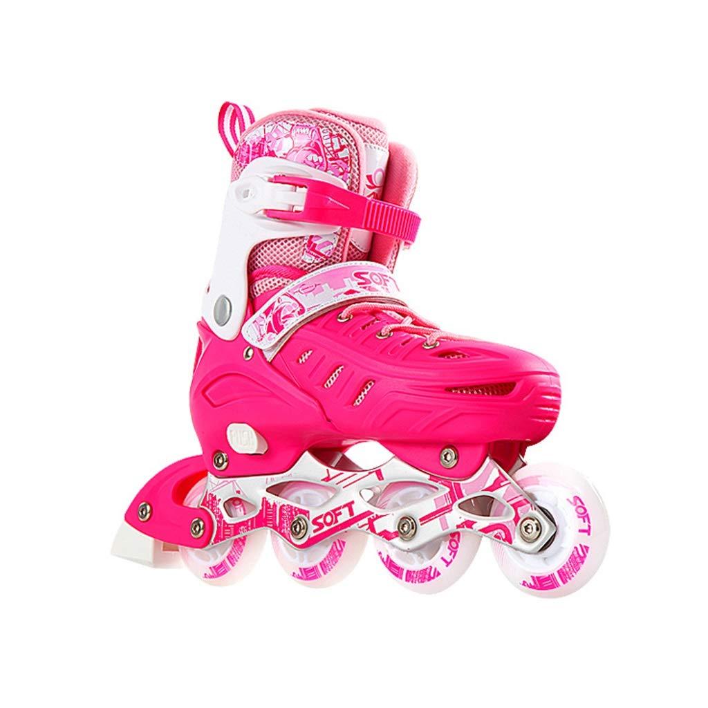 Ailj インラインスケート、 大人用1列スケート プロの男性と女性 調整可能 スケート フルセット フルフラッシュ(ピンク) (色 : B, サイズ さいず : S (30-34 yards)) B S (30-34 yards)