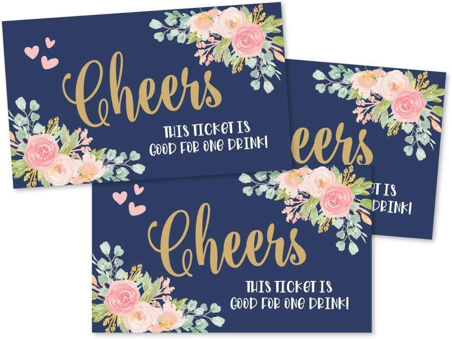 50 Navy Pink Floral Drink Ticket Coupons for a Free Drink at Weddings, Work Events or Party Bar, One Free Beer Wine Alcohol Soft Drink or Food Voucher, Flower Cheers Large Drinking Paper Raffle Cards