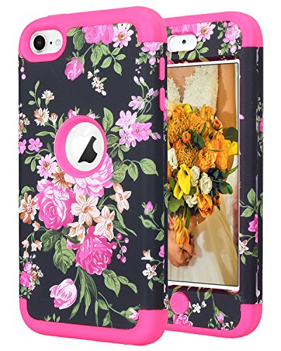 iPod Touch 7 2019 Case,iPod Touch 6 Case, SAVYOU iPod Black Flower Print Shockproof Armor Combo Case with Plastic + Silicone Cover for Apple iPod Touch 7th/6th/5th Generation Hot Pink