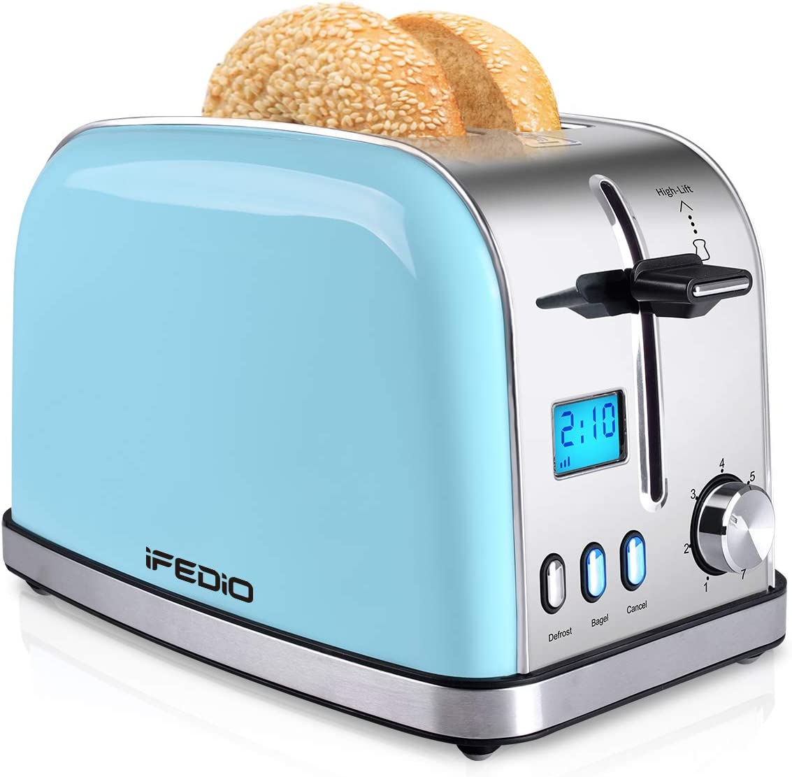 Toaster 2 Slice, Best Rated Prime 2 Slice Toaster [LCD Display], Stainless Steel Compact Bread Toasters Wide Slots Pop Up Bagel/Cancel/Defrost Function, Removable Crumb Tray Toaster (900W, Blue)