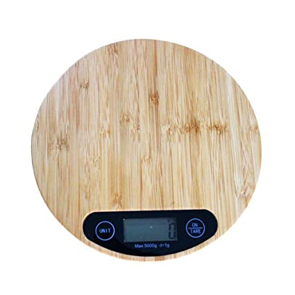 Báscula Digital para Cocina de Madera con Gran Pantalla LCD e Almohadillas Antideslizantes 5kg/11