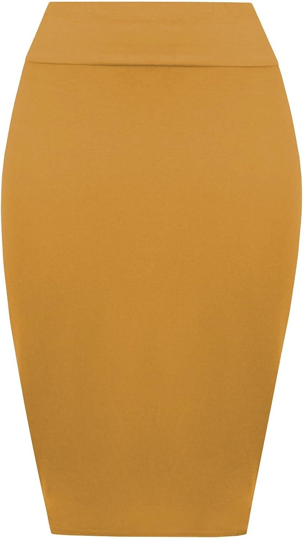 Hamishkane Nouveau Dames Plaine Haute Waisted Stretch Bodycon Jersey /Ét/é Crayon Midi Jupe