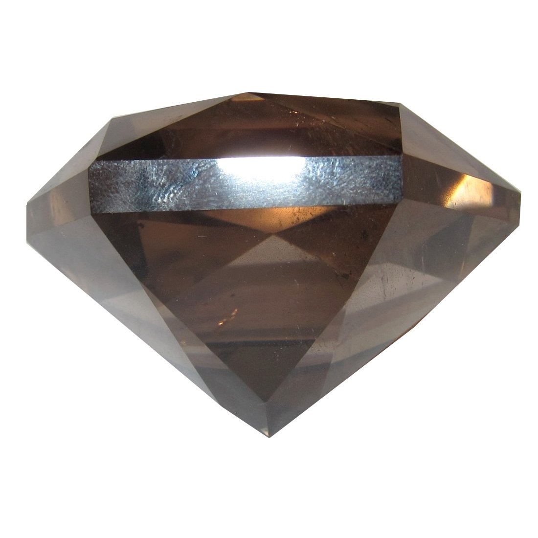 Smoky Quartz Polygon 52 Faceted Diamond Sacred Geometrical Stone Clear Crystal Rock 2.4''