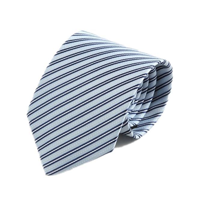 YYB-Tie Corbata Moda Corbata de Hombre Corbata de Rayas Azul Claro ...
