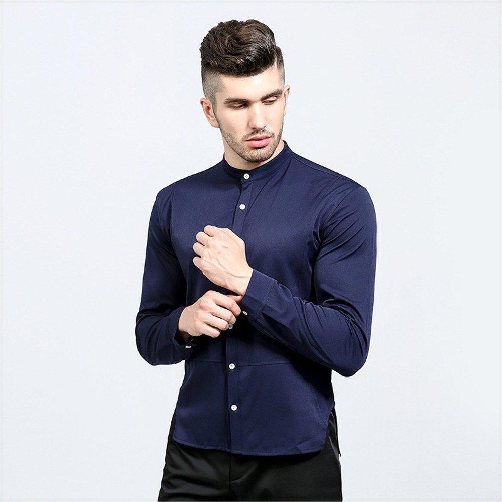 Lixus solide Kragen persönlichkeit unregelmäßigen Schlitze auf beiden Seiten eine Feste Farbe Kragen Hemd,dunkelblau,XL