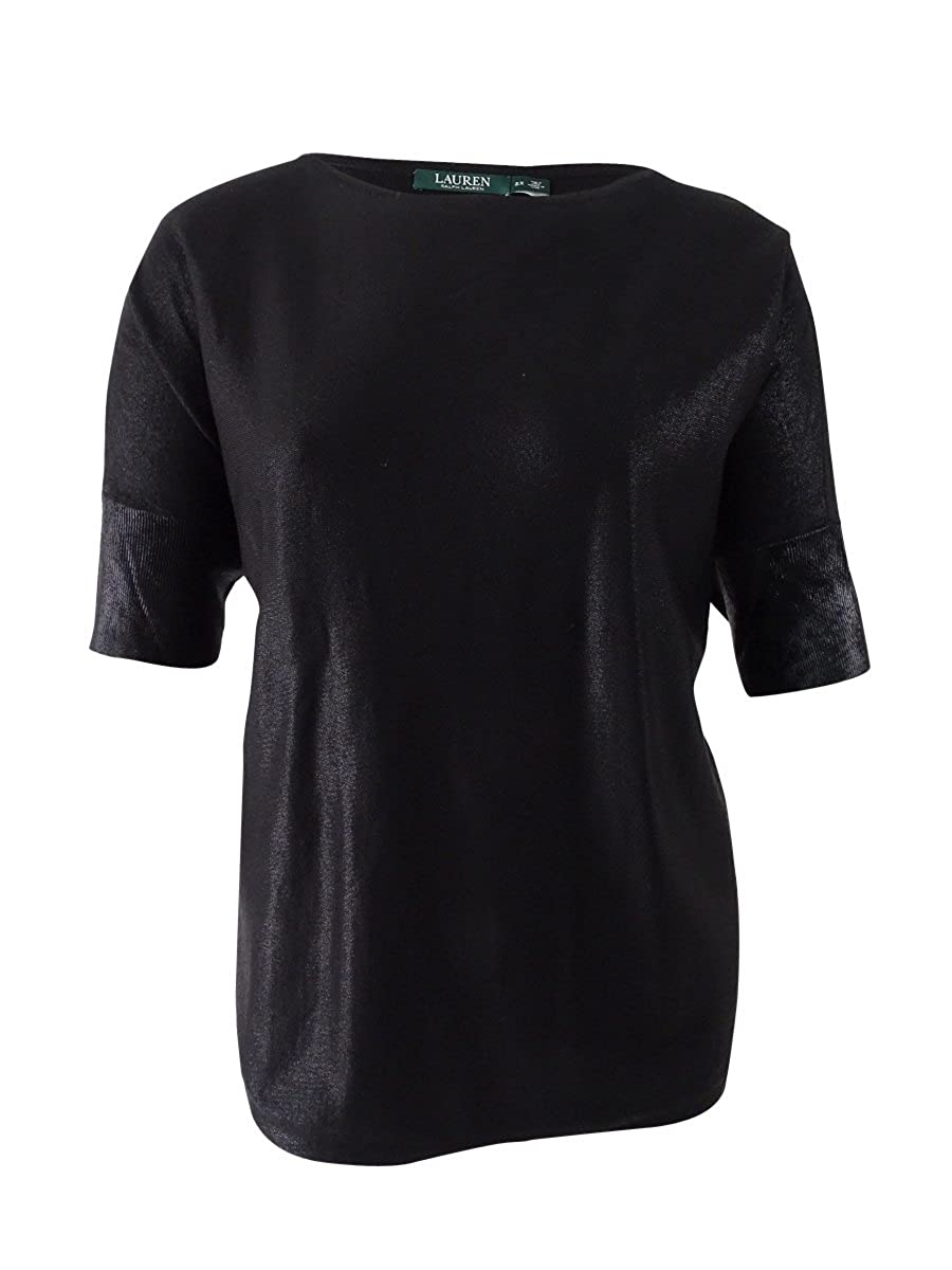 b2bf992a23e Lauren Ralph Lauren Womens Plus Metallic Dolman Sleeves Blouse Black 2X at  Amazon Women's Clothing store: