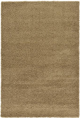 Unique Loom Solo Solid Shag Collection Modern Plush Sandy Brown Rectangle (6' x 9') from Unique Loom