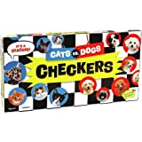 Peaceable Kingdom Cats vs. Dogs Checkers Game for Kids with Magnetic Stackable Pieces