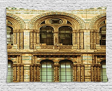 Urban Tapestry by Ambesonne, Historical Architecture European City Building in London British Culture Art Photo Print, Wall Hanging for Bedroom Living Room Dorm, 60 W X 40 L Inches, - Sepia Photo Print