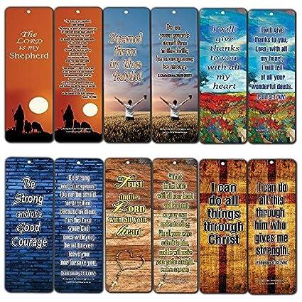Christian Bookmarks Assorted Bulk Set (60-Pack)- Inspirational Bible Verses Be Strong