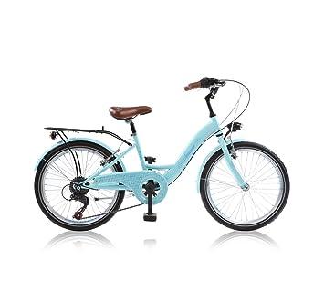 24 Zoll Kinder Fahrrad Kinderfahrrad Cityfahrrad Citybike Mädchenfahrrad Bike Amzone Blau Weiss