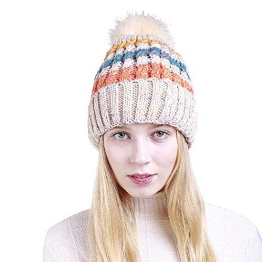 386b973bad6 DMZing Unisex Color Block Knit Wool Beanie Cosy Winter Warm Bobble Ski Pom  Pom Hat Cap